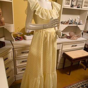 Vintage buttercup eyelet maxi dress.